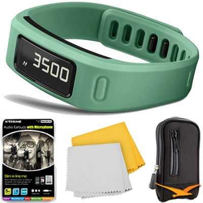 Vivofit Fitness Band Bundle w/ Heart Rate Monitor (Teal) Plus Accessory Bundle