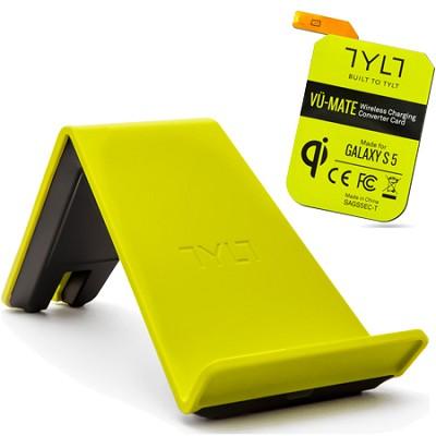 VU Wireless Charger QI Smartphone Bundle w Galaxy S5 Receiver Card - Green