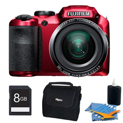 FinePix S6800 16 MP 30x Wide Angle Zoom Digital Camera Red 8GB Kit