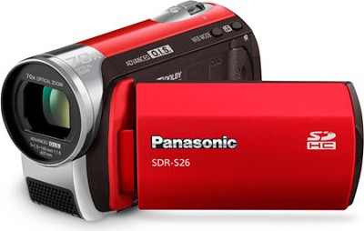 SDR-S26R - SDmemory card Camcorder with 70x Zoom & OIS (Red)