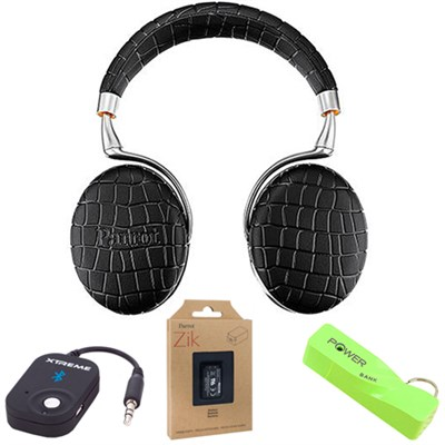 Zik 3 Wireless Noise Cancelling Bluetooth Headphones (Black Croc) Mobile Bundle