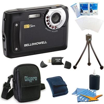 S7 Night Vision Slim 12.2 MP Black Digital Camera Bundle