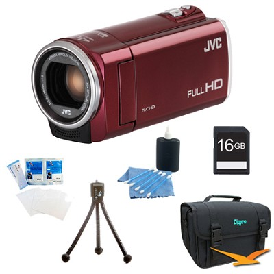 GZ-E100RUS - HD Everio Camcorder 40x Zoom f1.8 (Red) with 16GB Bundle