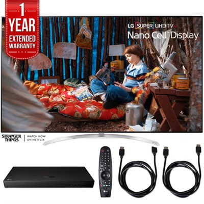 SUPER UHD 65` 4K HDR Smart LED TV w/ Blu-ray Player + Extented Warranty Bundle