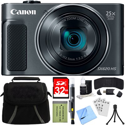 PowerShot SX620 HS 20.2MP Digital Camera Black w/ 32GB Card Accessory Bundle