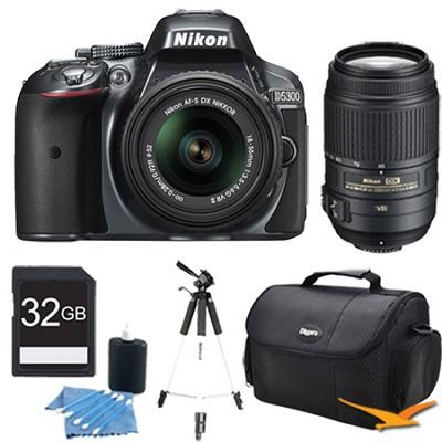 D5300 DX-Format Digital SLR Kit (Grey) w/ 18-55mm DX & 55-300mm VR Lens Bundle