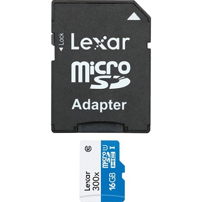 High-Performance 16GB microSDHC UHS-I 300x Memory Card w/ Adapter