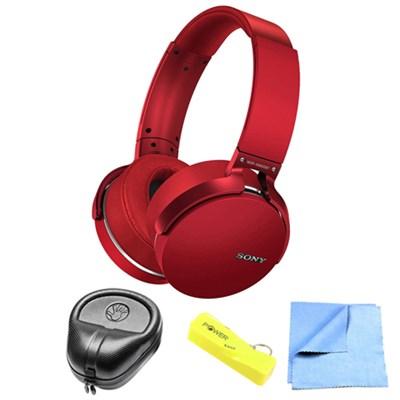 Extra Bass Bluetooth Wireless Red Headphones w/ Power Bank Bundle