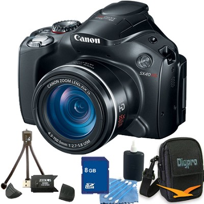 PowerShot SX40 HS 35x Optical Zoom Digital Camera + Memory Card, Case & More Kit