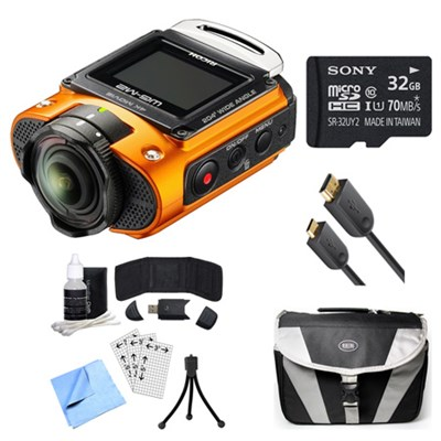 WG-M2 4K Action Orange Digital Camera, 32GB Card, Cable, and Accessory Bundle