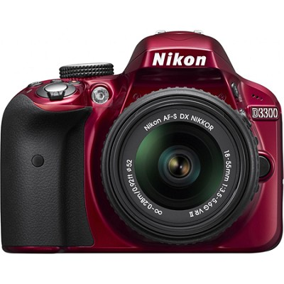 D3300 DSLR 24.2 MP HD 1080p Camera with 18-55mm Lens - Red