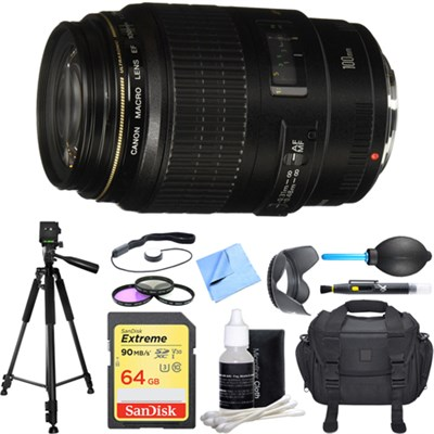 Canon EF 100mm f/2.8 USM Macro Auto Focus Lens Deluxe Accessory Bundle
