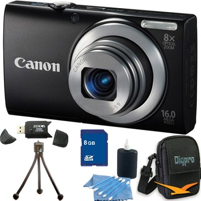 PowerShot A4000 IS 16MP Black Digital Camera 8GB Bundle