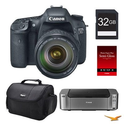 EOS 7D DSLR Camera 28-135 Lens, 32GB, Printer Bundle