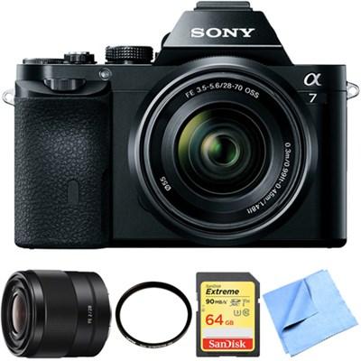 a7K Full-Frame Mirrorless Camera with FE 28-70mm Lens 28mm Prime Lens Bundle