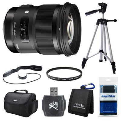 50mm f/1.4 DG HSM Lens for Canon EF Cameras Bundle Includes Tripod, Bag and More