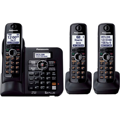 KX-TG6643B DECT 6.0 Expandable Digital Cordless Answering System with 3 handsets