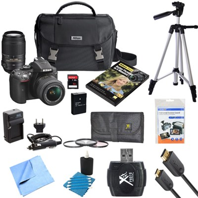 D5300 DX-Format Digital SLR Camera w/ 18-55mm VR II + 55-300mm VR Lens Bundle