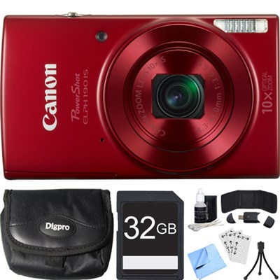PowerShot ELPH 190 IS Red Digital Camera w/ 10x Optical Zoom 32GB Card Bundle