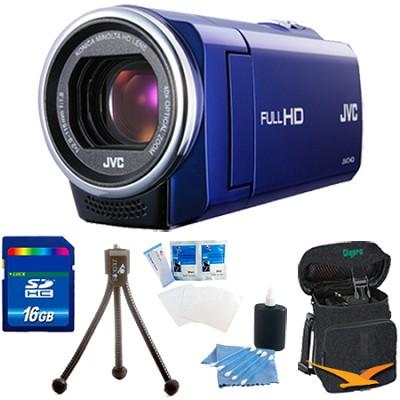 GZ-E10AUS - HD Everio Camcorder 40x Zoom f1.8  (Blue) with 16GB Bundle