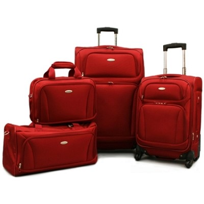 Premium 4 Piece Lightweight Set (20` & 28` Spinners, Duffel & Boarding) {Red)