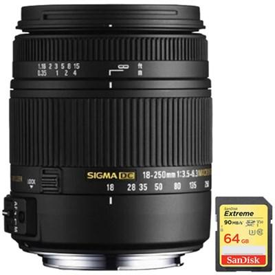 18-250mm F3.5-6.3 DC OS HSM Macro Lens f/ Nikon AF w/64GB Memory Card