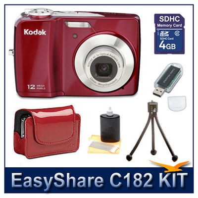 EasyShare C182 Red Value Bundle w/ 4GB SD, Reader, Case, Battery, Tripod +