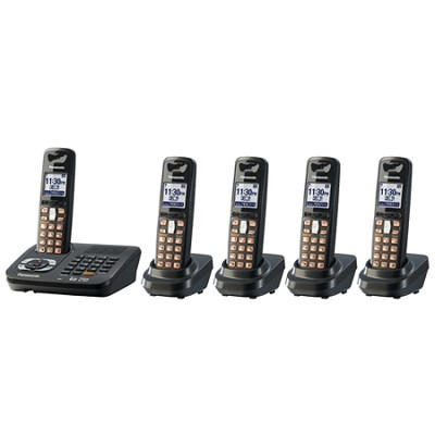 KX-TG6445T DECT 6.0 Cordless Phone with Answering System, Black, 5 Handsets
