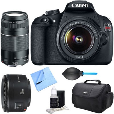 EOS Rebel T5 18MP DSLR Camera 18-55mm & 75-300 & 50mm F/1.8 Lens 7 pc Kit