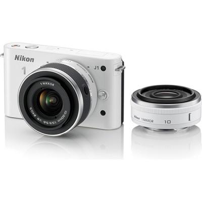 1 J1 SLR White Digital Camera w/ 10mm & 10-30mm VR Lenses