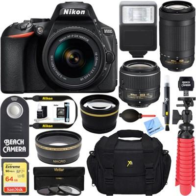 D5600 24.2MP DSLR Camera + AF-P 18-55mm w/ 70-300mm Lens Memory & Flash Kit