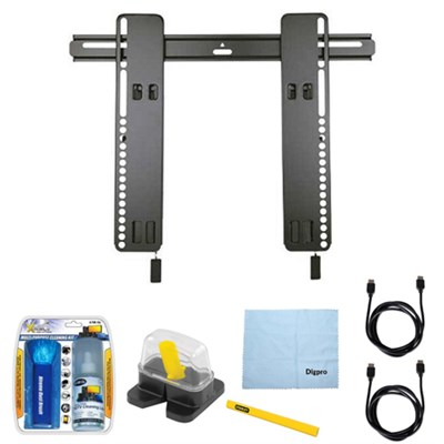 HDpro Super Slim Tilting Wall Mount for 26`- 47` TVs w/ Accessories Bundle