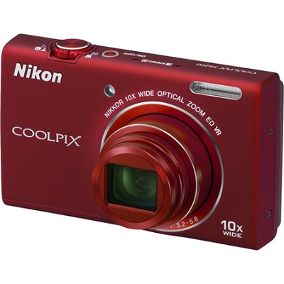 COOLPIX S6200 Red 10x Zoom 16MP Digital Camera