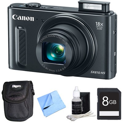 PowerShot SX610 HS 20.2 MP 18x Zoom 3` LCD Black Digital Camera Plus 8GB Bundle