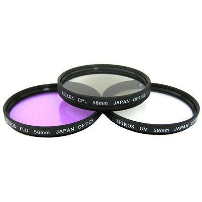 ZE-FK58 3-Piece 58mm UV, Polarizer & FLD Deluxe Filter Kit + Carrying Case