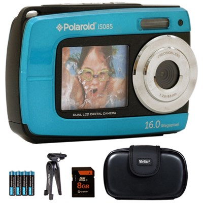 iS085 16MP Waterproof Digital Camera - Teal - 8GB Accessory Kit