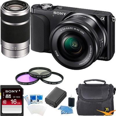 NEX-3NL Digital Camera  w 16-50, 55-210 Lens Essentials Bundle (Black)
