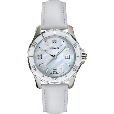 Ladies' Sport Watch - White Mother-of-Pearl Dial/White Leather Strap