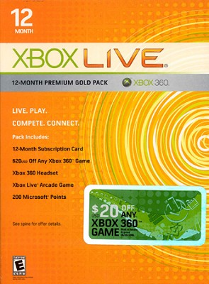 Xbox Live 12-Month Premium Gold Pack