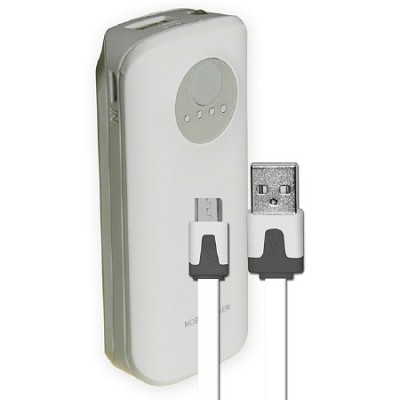 5200mAh Neon Power Battery Bank with USB Charging Cable in White