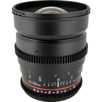 24mm T1.5 Aspherical Wide Angle Cine Lens, De-clicked Aperture for Nikon DSLR