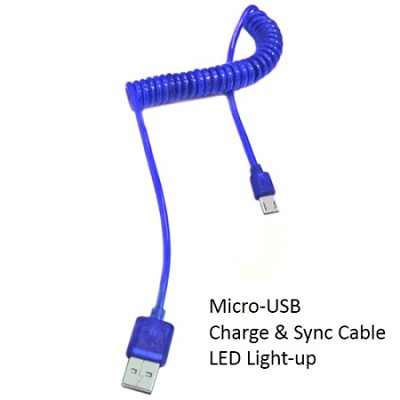 Micro USB Cable with LED Light - Blue