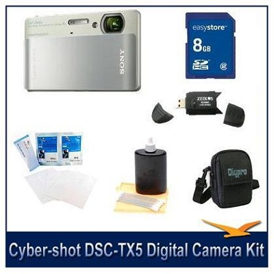 Cyber-shot DSC-TX5 10.2 MP Digital Camera (Green) with 8GB Card, Case, More