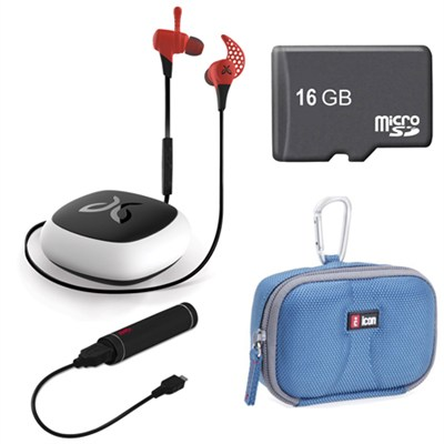 X2 Wireless Bluetooth Sport Headphones Fire Red 16GB Card Deluxe Bundle