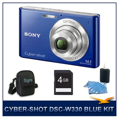 Cyber-shot DSC-W330 14MP Blue Digital Camera with 4GB Card, Case, and More