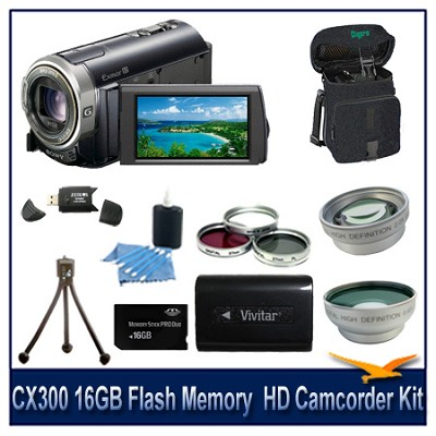 CX300 16GB Flash Memory  HD Camcorder With 16GB Memory Card, Battery, and More