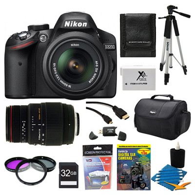 D3200 DX-format Digital SLR Kit w/ 18-55mm and Sigma 70-300 lenses 32Gb Pro Pack