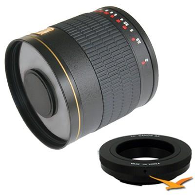 800mm F8.0 Mirror Lens for Canon EOS (Black Body) - 800M-B + T2-EOS