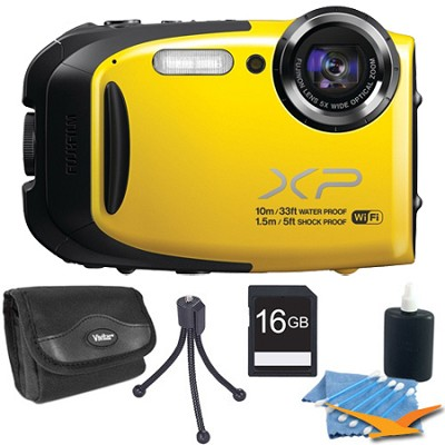 FinePix XP70 Waterproof/Shockproof Digital Camera Yellow 16GB Kit