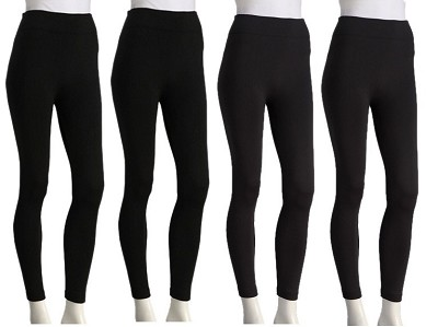 4-Pack Seamless Fleece Leggings Multi Color:  Black, Navy, Grey, Brown One Size